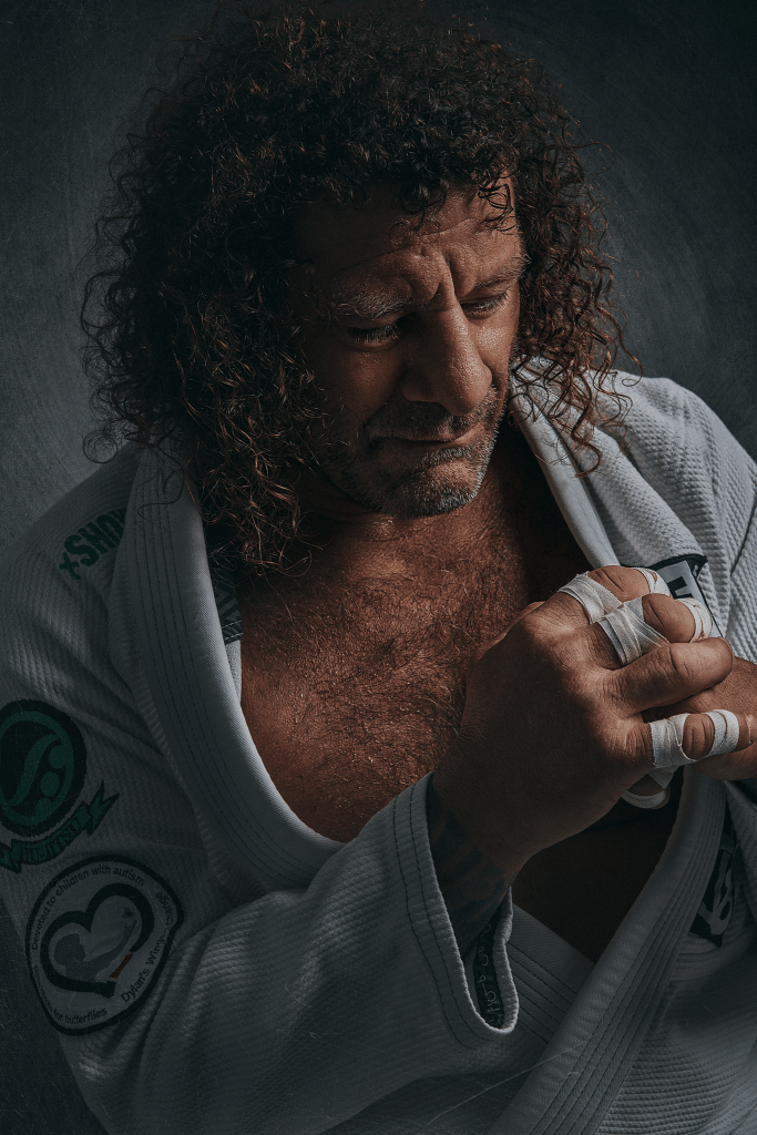 pensive portrait of professional male athlete kurt osiander with wrapped fingers taken in Cowra NSW